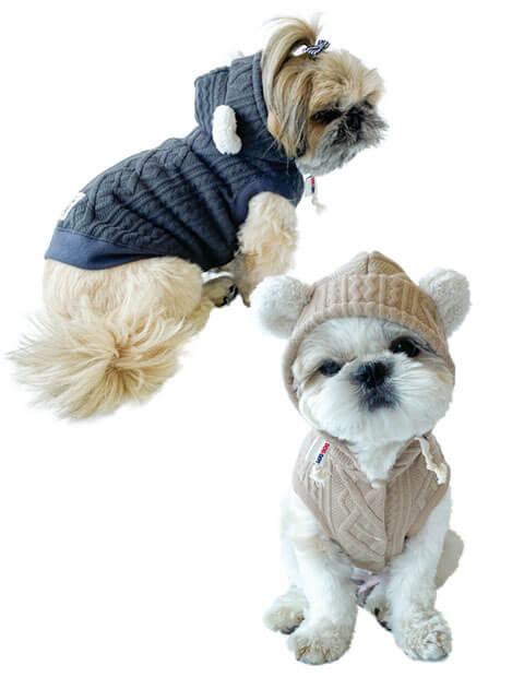 【DOG WEAR】ケーブルボア ノースリーブパーカー