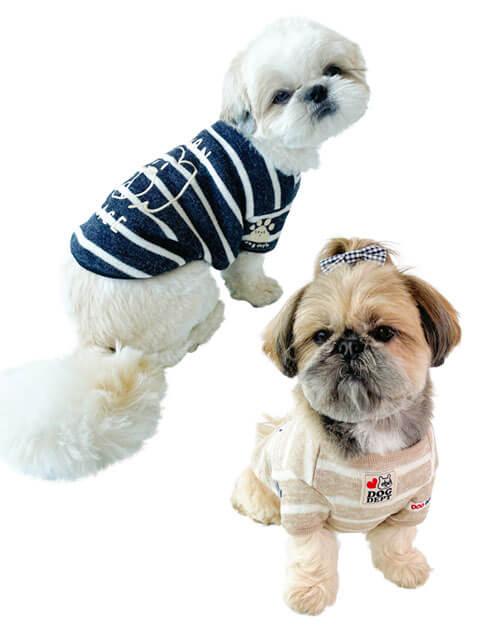 【DOG WEAR】ローゲージ天竺ボーダー Tシャツ