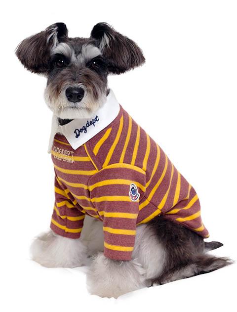《期間限定アウトレット》【DOG WEAR】衿付きボーダーボートネック