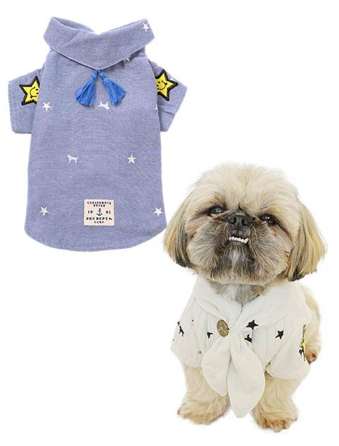 【DOG WEAR】スター&ドッグ刺繍ガーゼバンダナシャツ