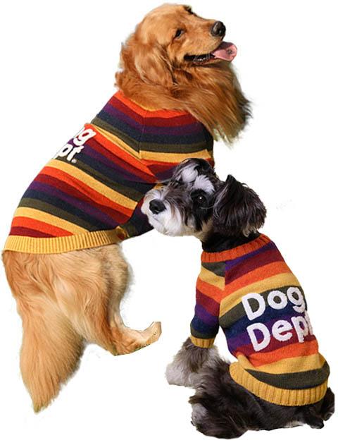《まとめ割引対象》【DOG WEAR】マルチボーダーニット