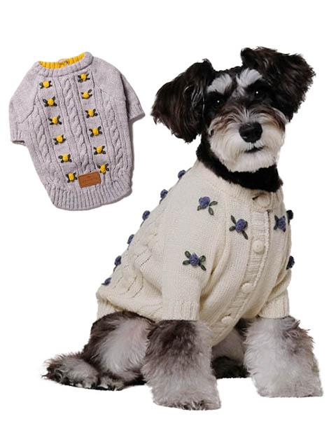 《まとめ割引対象》【DOG WEAR】ハンド刺繍フラワーカーデ