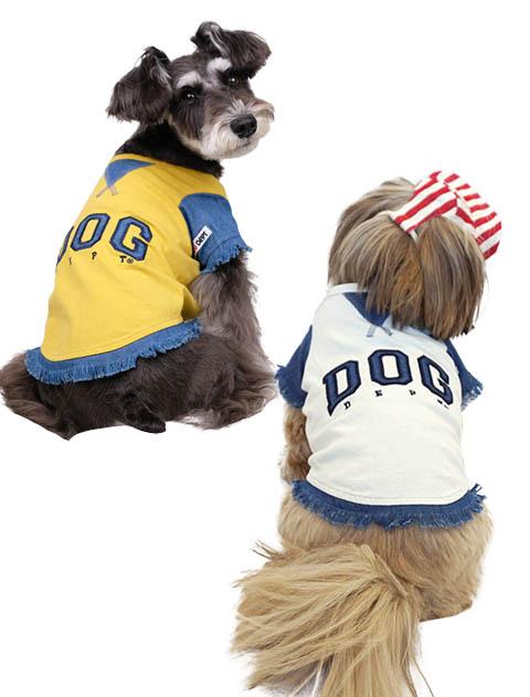 《2点以上でさらに10%OFF対象》【DOG WEAR】布帛×天竺 DOGアップリTシャツ