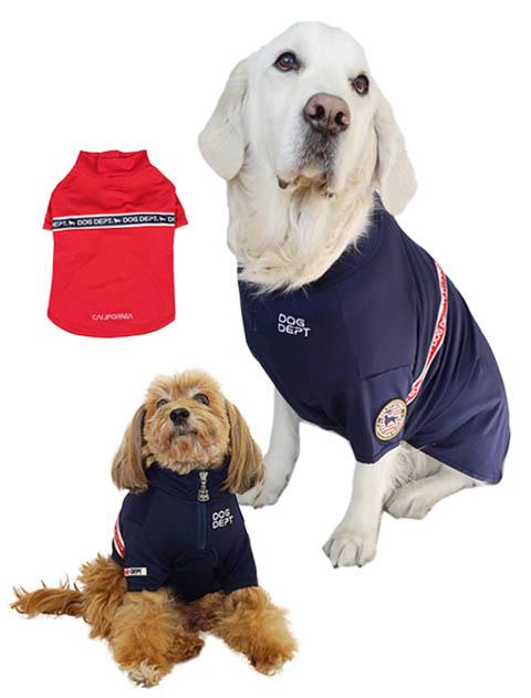 【DOG WEAR】ロゴライン メッシュスタンドハーフジップ