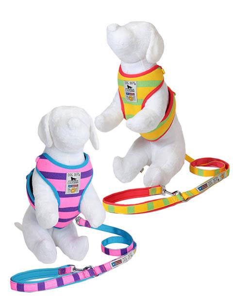 【DOG GOODS】ボーダー リード&ソフトハーネスセット
