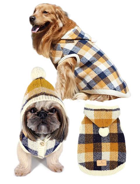 【DOG WEAR】チェックパーカーニットベスト