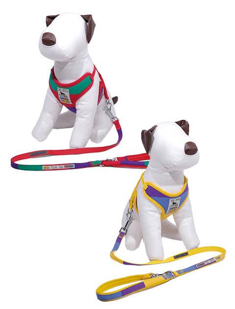 《期間限定》【DOG GOODS】カラフルボーダー リード&ソフトハーネスセット