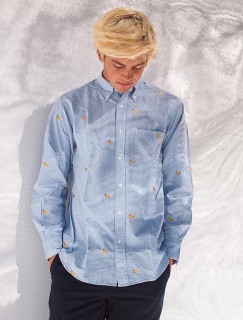 【UNISEX】ゴールデン刺繍長袖B/Dシャツ