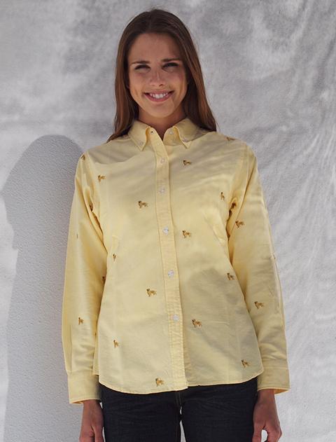 【WOMEN】ウィメンズゴールデン刺繍長袖B/Dシャツ