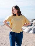 【WOMEN】バッグギャザー ロゴ刺繍Tシャツ