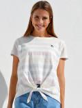 【WOMEN】ボーダー裾リボンTシャツ