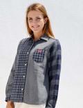 【WOMEN】ギンガム切り替えシャツ