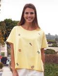 【まとめ割引対象】【WOMEN】HAPPY刺繍Tシャツ