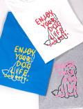 【UNISEX】FRUITベース イラストドッグ Tシャツ