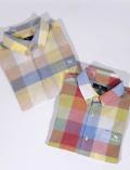 【UNISEX】綿麻カラフルブロック 半袖B/Dシャツ