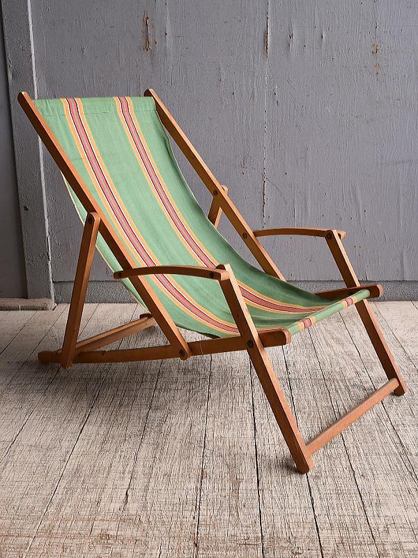 イギリス アンティーク フォールディングデッキチェア 椅子 10055