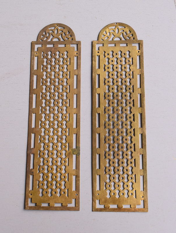 イギリス アンティーク 真鍮フィンガープレート ドアプレート×2  10109