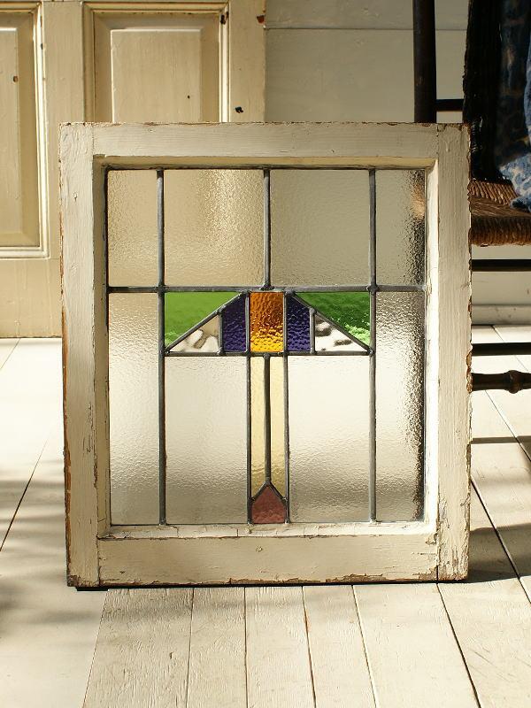イギリス アンティーク ステンドグラス 幾何学 2868