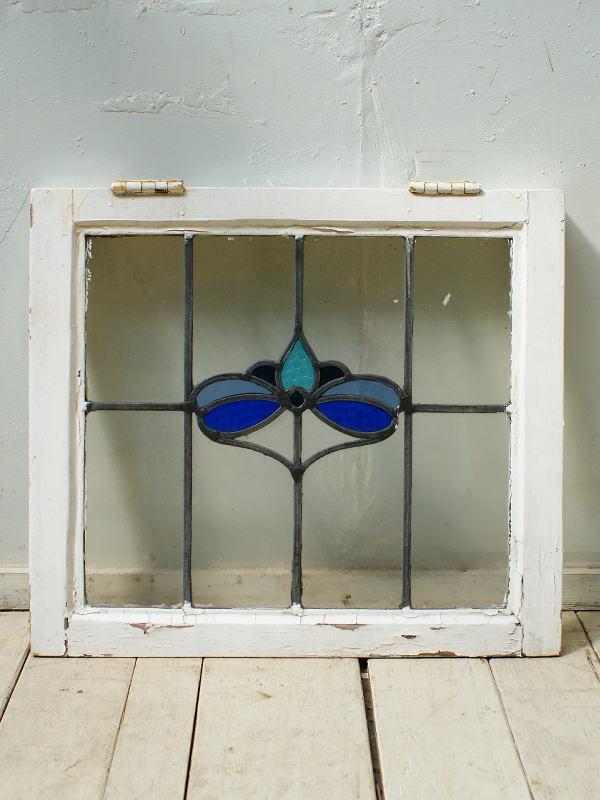 イギリス アンティーク ステンドグラス 幾何学 4333