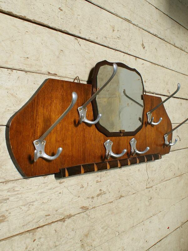フレンチ ヴィンテージ フック&ラック付き 壁掛けルームミラー 5595