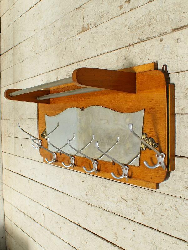 フレンチ ヴィンテージ フック&ラック付き 壁掛けルームミラー 5612