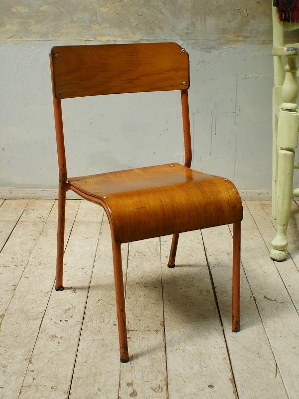 イギリス ヴィンテージ スクールチェア2脚/学校椅子 5695