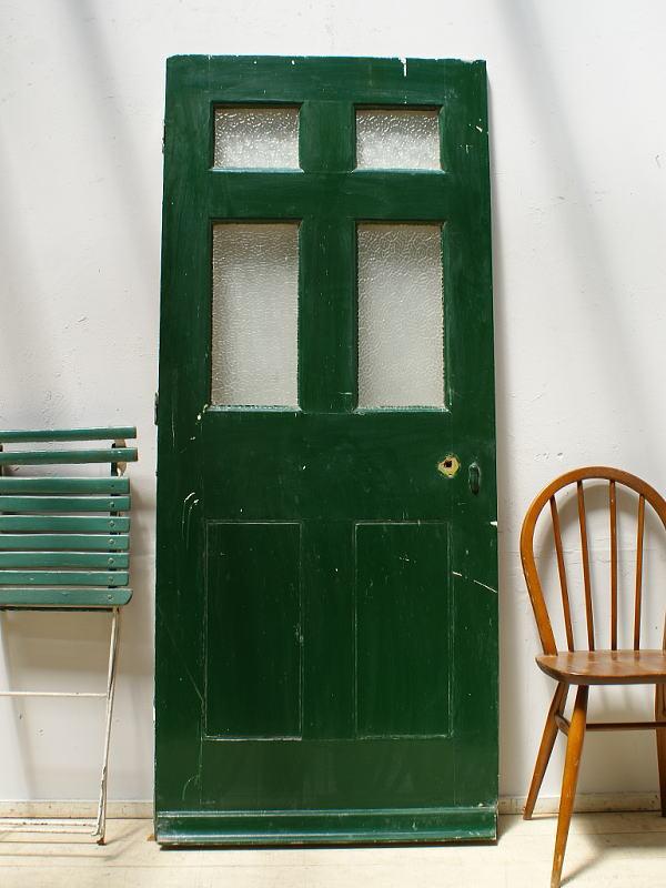 イギリス アンティーク ガラス入り木製ドア 扉 ディスプレイ 建具 626