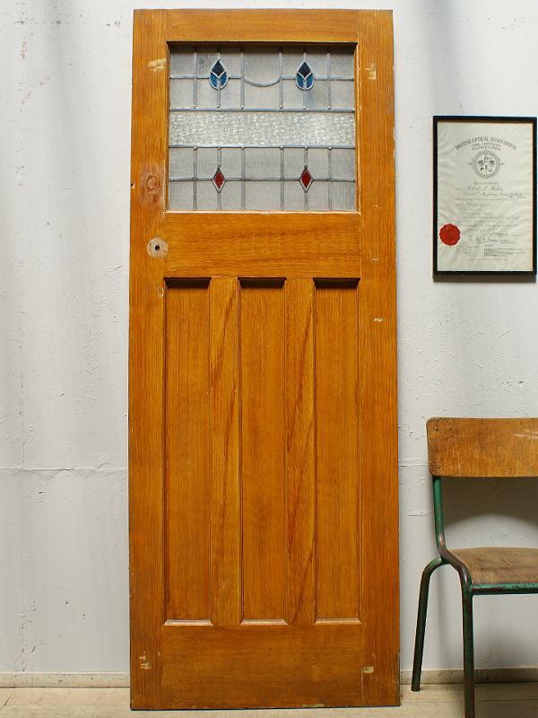 イギリス アンティーク ステンドグラス入り木製ドア 扉 ディスプレイ 建具 6394