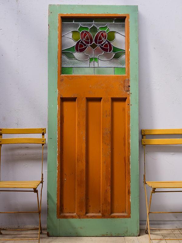 イギリス アンティーク ステンドグラス入り木製ドア 扉  建具 9586