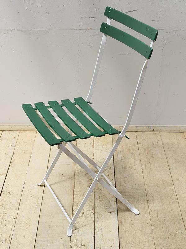 フレンチ アンティーク フォールディング ガーデンチェア 椅子 6895