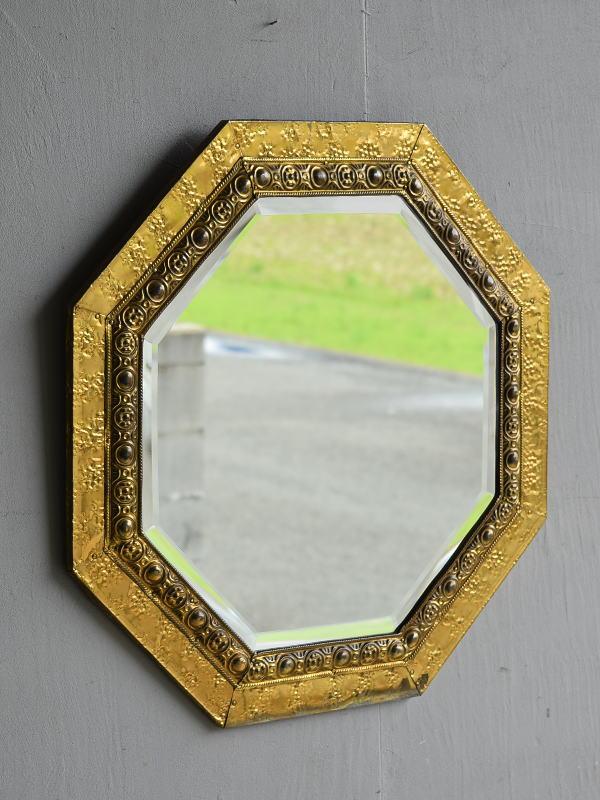 イギリス アンティーク  壁掛け ミラー 鏡  7905