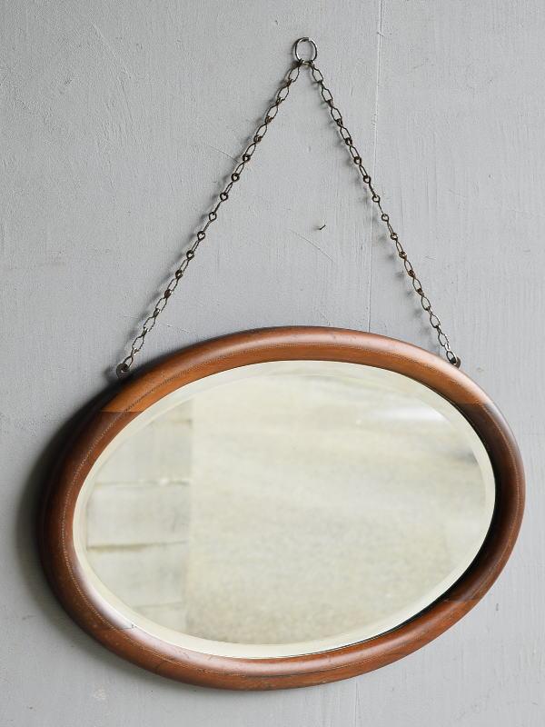 イギリス アンティーク  木製枠 ミラー 鏡 7906