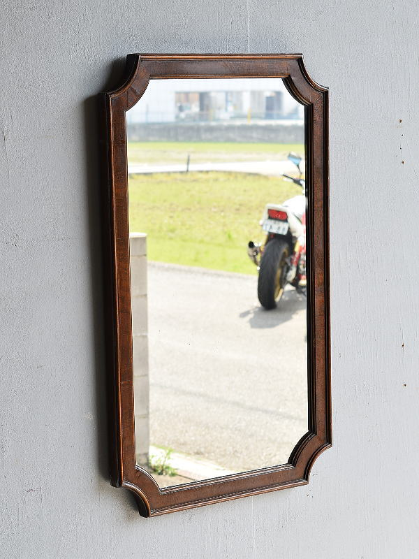 イギリス アンティーク  木製枠 ミラー 鏡 7911