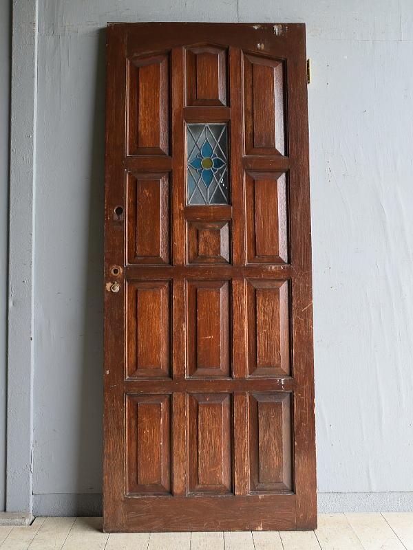 イギリス アンティーク ステンドグラス入り木製ドア 扉 建具 8180