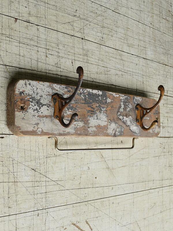 イギリス  アンティーク 壁掛けコートフック 2連 8238