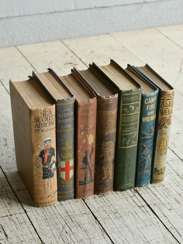 イギリス アンティーク ブック 本 洋書 7冊セット ディスプレイ 8276