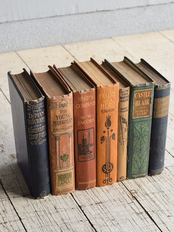 イギリス アンティーク ブック 本 洋書 7冊セット ディスプレイ 8277