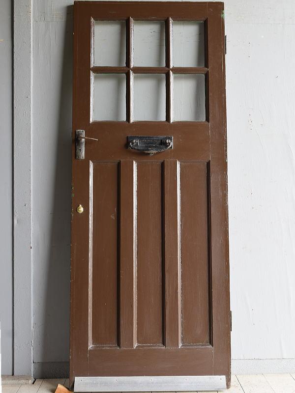 イギリス アンティーク ガラス入り木製ドア 扉 建具 8294