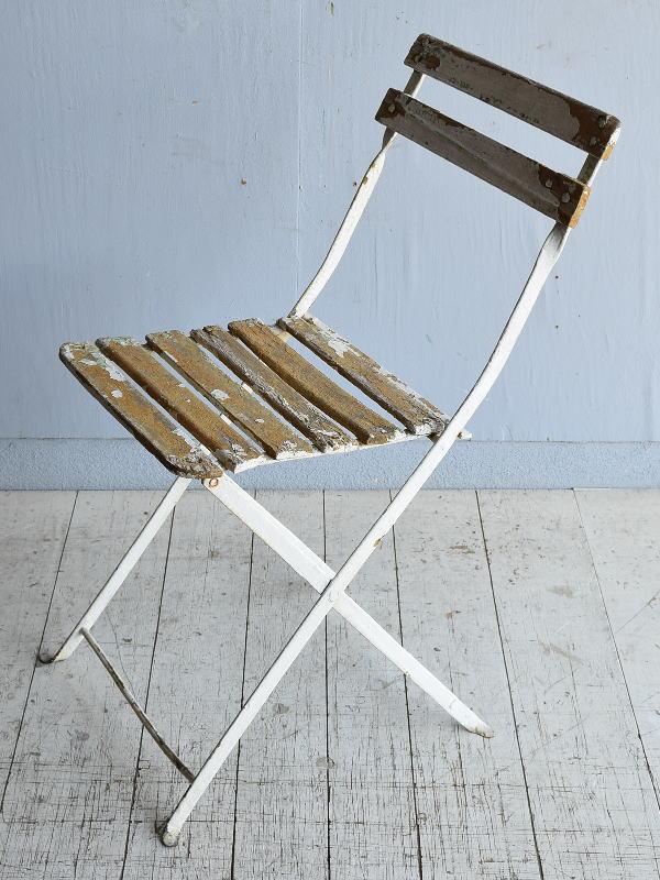 フレンチ アンティーク フォールディング ガーデンチェア 椅子 8314