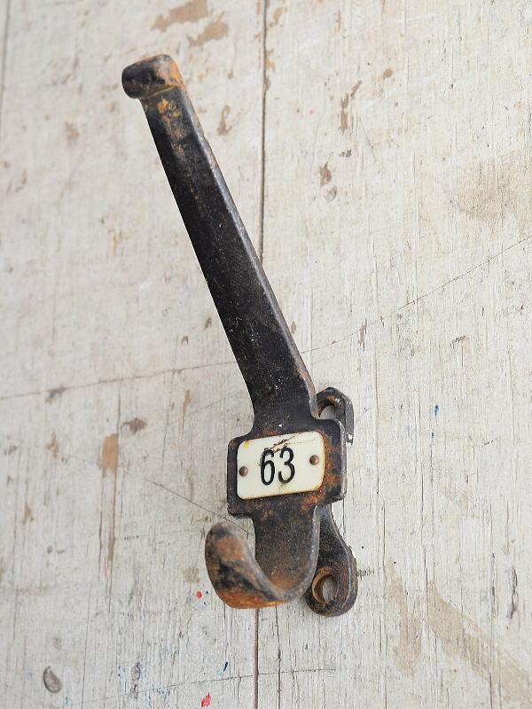イギリス アンティーク アイアンコートフック 工業系 8376