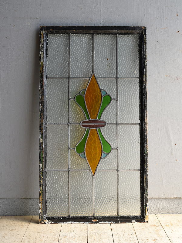 イギリス アンティーク ステンドグラス 幾何学 8539