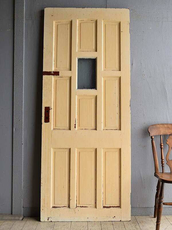イギリス アンティーク ステンドグラス入り木製ドア 扉 建具 8578