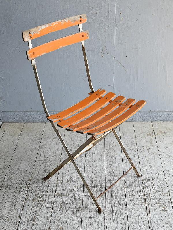 フレンチ アンティーク フォールディング ガーデンチェア 椅子 8583