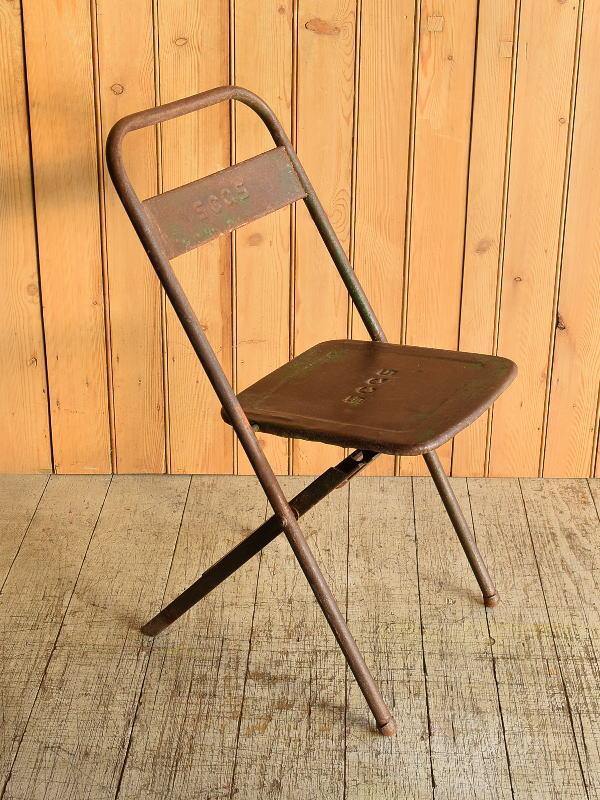 フレンチ アンティーク フォールディング アイアンチェア 椅子 8917