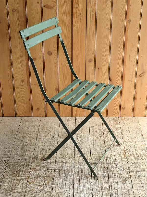 フレンチ アンティーク フォールディング ガーデンチェア 椅子 8937