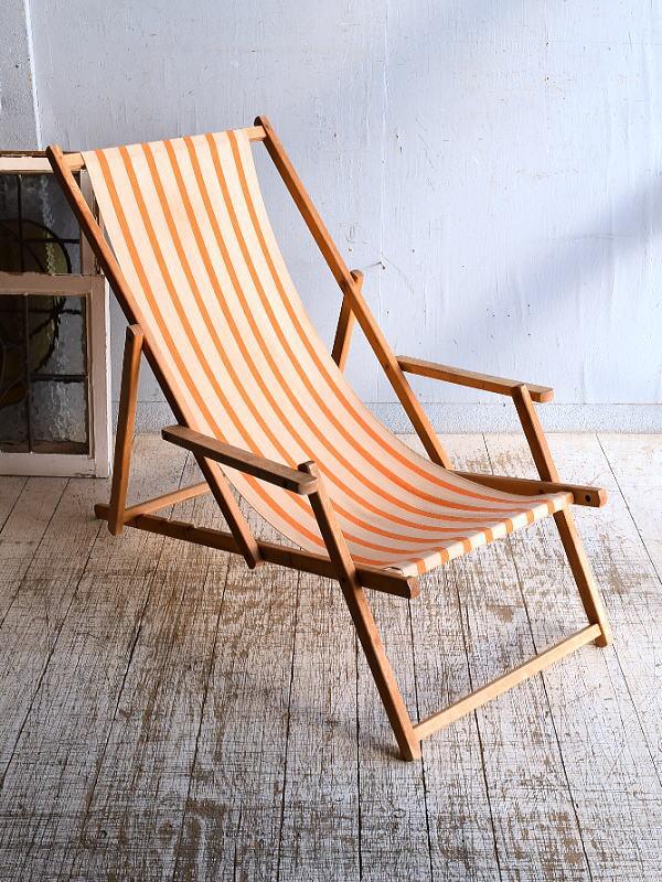 イギリス アンティーク フォールディングデッキチェア 椅子 9268
