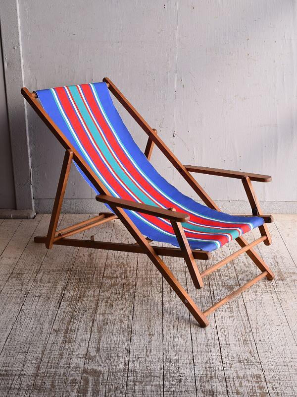 イギリス アンティーク フォールディングデッキチェア 椅子 9269