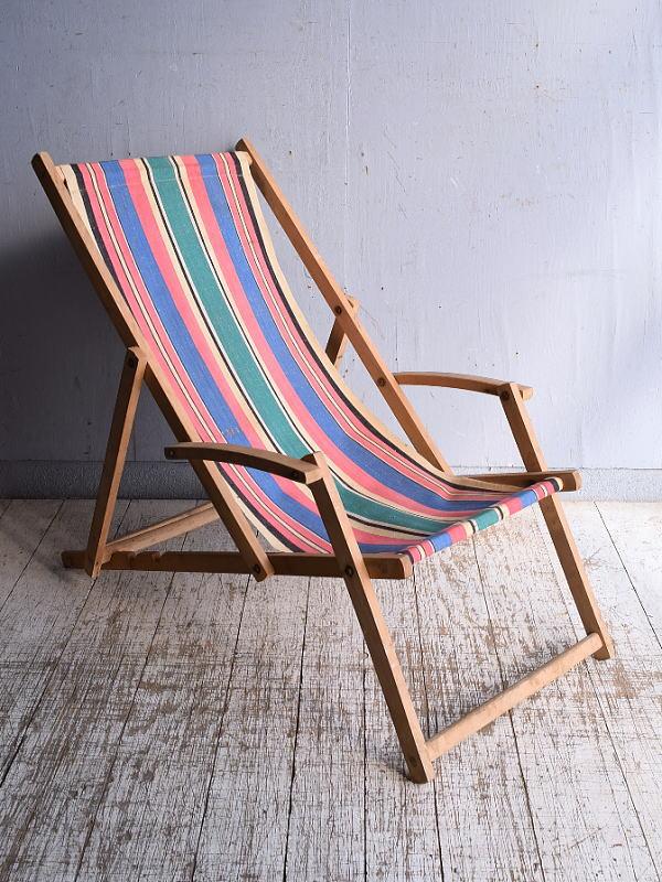 イギリス アンティーク フォールディングデッキチェア 椅子 9273