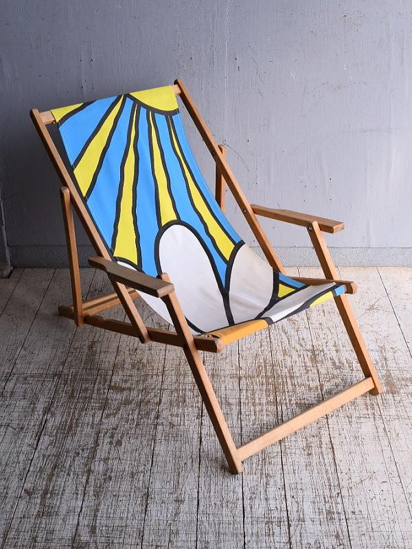 イギリス アンティーク フォールディングデッキチェア 椅子 9274