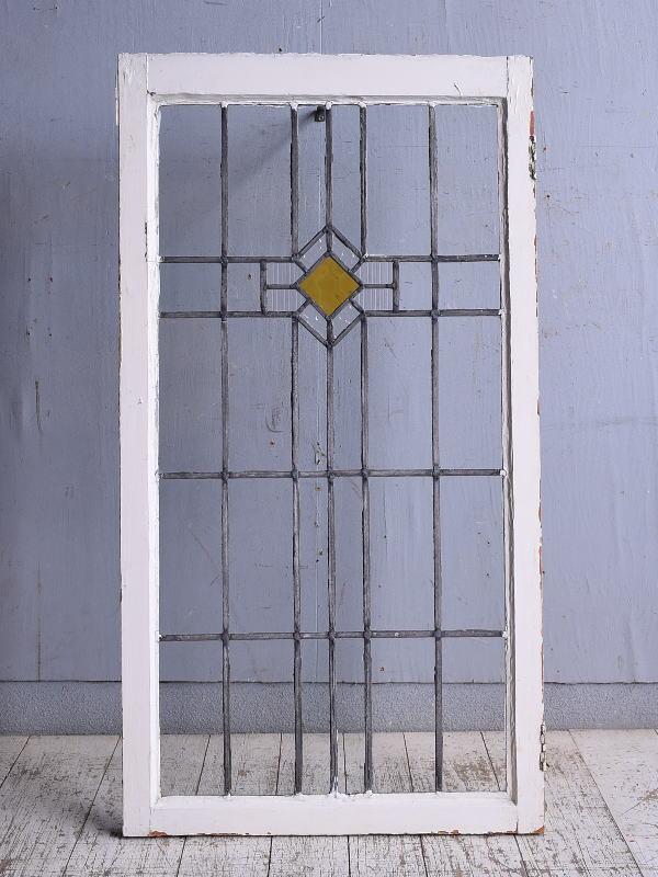 イギリス アンティーク ステンドグラス 幾何学 9289